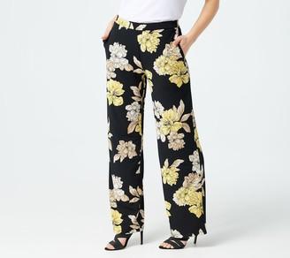 Susan Graver Petite Printed Liquid Knit Pull-On Wide-Leg Pants
