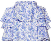 Caroline Constas Carmen Off-the-shoulder Printed Cotton-blend Toile Top - Blue