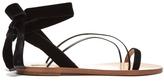 Valentino Velvet Flat Sandals - Black