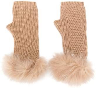 Lorena Antoniazzi fur-trimmed fingerless gloves