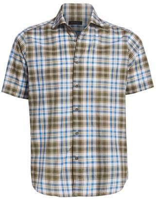 Saks Fifth Avenue Cotton & Linen Plaid Shirt