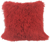 "24"" Red Genuine Tibetan Lamb Fur Pillow With Microsuede Backing"