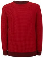 Topman Red Scale Textured Sweater