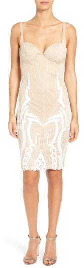 Katie May Women's 'Cara' Backless Ribbon Lace Embroidered Tulle Sheath Dress