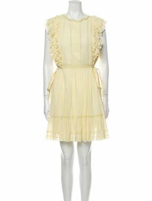Ulla Johnson Crew Neck Mini Dress Yellow