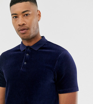 Asos Design DESIGN Tall longline polo shirt in ribbed velour in navy