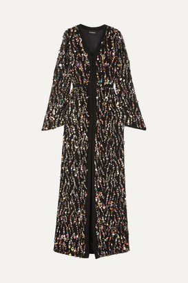 Rasario Sequined Crepe Gown - Black