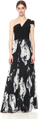 Betsy & Adam Women's Long one Shoulder Printed Chiffon Dress