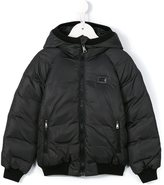 Dolce & Gabbana hooded puffer jacket - kids - Feather Down/Polyamide/Virgin Wool - 2 yrs