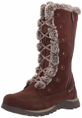 Skechers Women's Grand JAMS-Tall Lace Up Boot with Fur Trim and Warm Tech Memory Foam Mid Calf