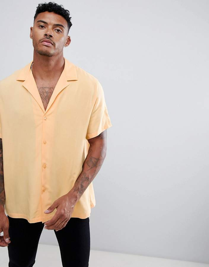Asos Design DESIGN oversized viscose shirt with deep v in peach