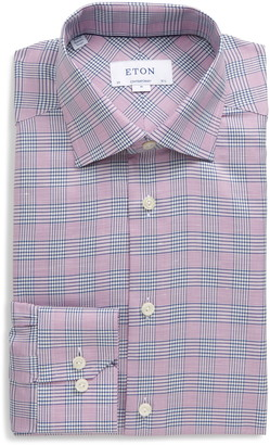 Eton Contemporary Fit Plaid Cotton & Linen Dress Shirt