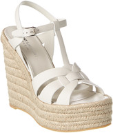 Thumbnail for your product : Saint Laurent Tribute 85 Leather Espadrille Wedge Sandal