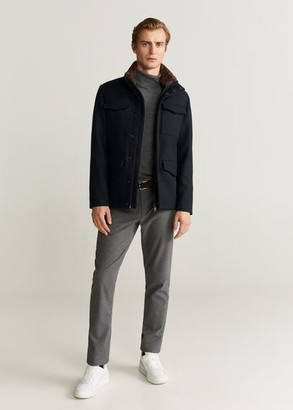MANGO MAN - Faux-fur lining jacket navy - M - Men