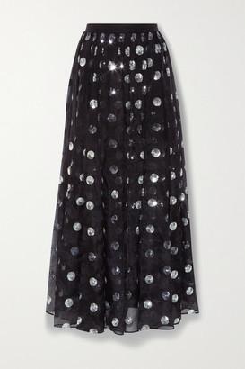Erdem Lindie Polka-dot Sequined Silk-chiffon Skirt - Black