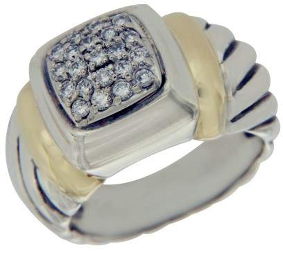 David Yurman 925 Sterling Silver & 18K Yellow Gold Diamond Ring Size 4.5