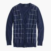 J.Crew Classic V-neck cardigan sweater in windowpane print