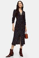 Topshop Womens Black V Neck Ruched Midi Dress - Black