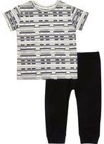River Island Mini boys black stripe t-shirt joggers outfit
