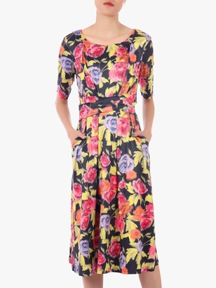 Jolie Moi Floral Print Midi Dress, Black/Multi