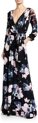 Melissa Masse Plus Size Floral Luxe Jersey Faux Wrap Maxi Dress