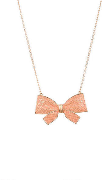 Delia's Large Basketweave Bow Necklace