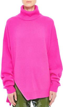 Tibi Side-Zip Ribbed Cashmere Turtleneck Sweater