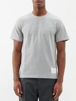 Thom Browne Slit-hem Cotton T-shirt - Mens - Light Grey