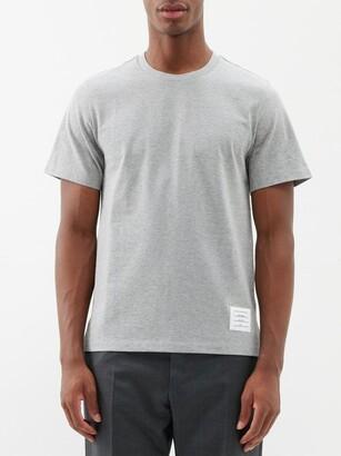 Thom Browne Slit-hem Cotton T-shirt - Light Grey