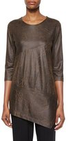Caroline Rose 3/4-Sleeve Distressed Faux-Suede Tunic, Petite