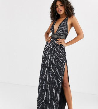 Asos DESIGN Tall maxi dress with cut outs in heavy embellishment