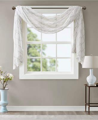 "Madison Home USA Irina 50"" x 144"" Embroidered Diamond Sheer Window Scarf"