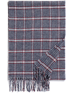 Johnstons of Elgin Blue Houndstooth Check Merino Wool and Cashmere-Blend Scarf