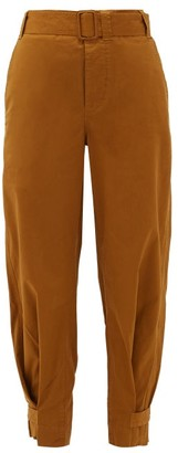 Proenza Schouler White Label Belted Cotton-blend Chino Trousers - Brown