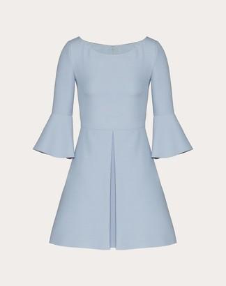 Valentino Short Dress In Crepe Couture Women Azure Virgin Wool 65%, Silk 35% 40