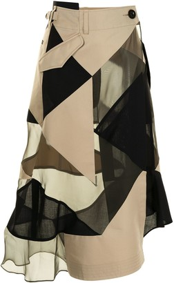 Sacai Colour Block Panelled Skirt