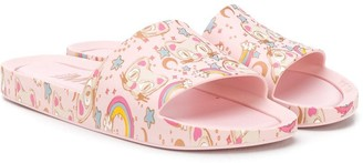 Mini Melissa Rainbow Cat Print Slides