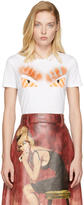 Fendi White and Orange Fur Bag Bugs T-Shirt