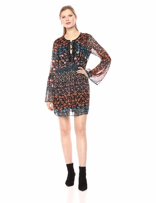 BCBGeneration Women's Day LACE UP Bell Sleeve Woven Dress