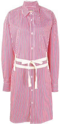 Plan C Double Belt Striped Shirt Dress