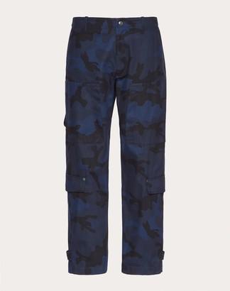 Valentino Vlogo Signature Cargo Pants Man Navy/ Red 100% Cotone 44