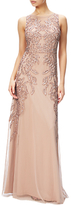 Adrianna Papell Plus Size Beaded Gown With Intricate Embroidery, Rose Gold