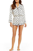 Kate Spade Quilt-Print Charmeuse Lounge Romper