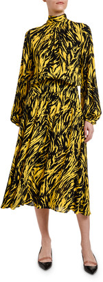 No.21 Animal-Print High-Neck Blouson-Sleeve Midi Dress