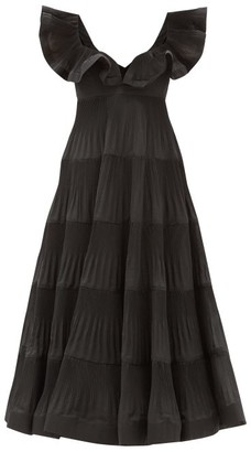 Zimmermann Lovestruck Flounced Pleated-poplin Dress - Black