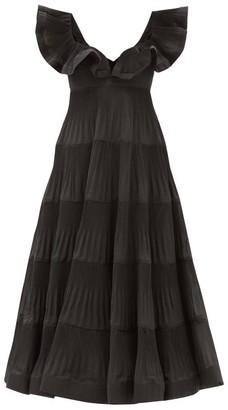 Zimmermann Lovestruck Flounced Pleated-poplin Dress - Black