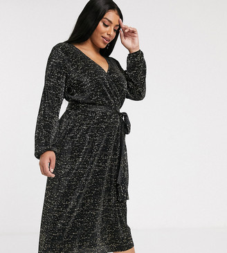 Asos DESIGN Curve long sleeve glitter midi plisse tea dress-Black