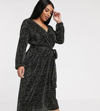 Asos DESIGN Curve long sleeve glitter midi plisse tea dress