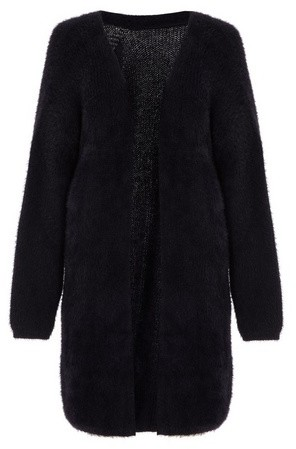 Dorothy Perkins Womens Quiz Black Fluffy Knitted Cardigan, Black