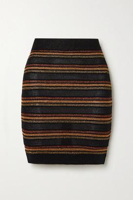 Balmain Striped Wool And Metallic Knitted Mini Skirt - Black